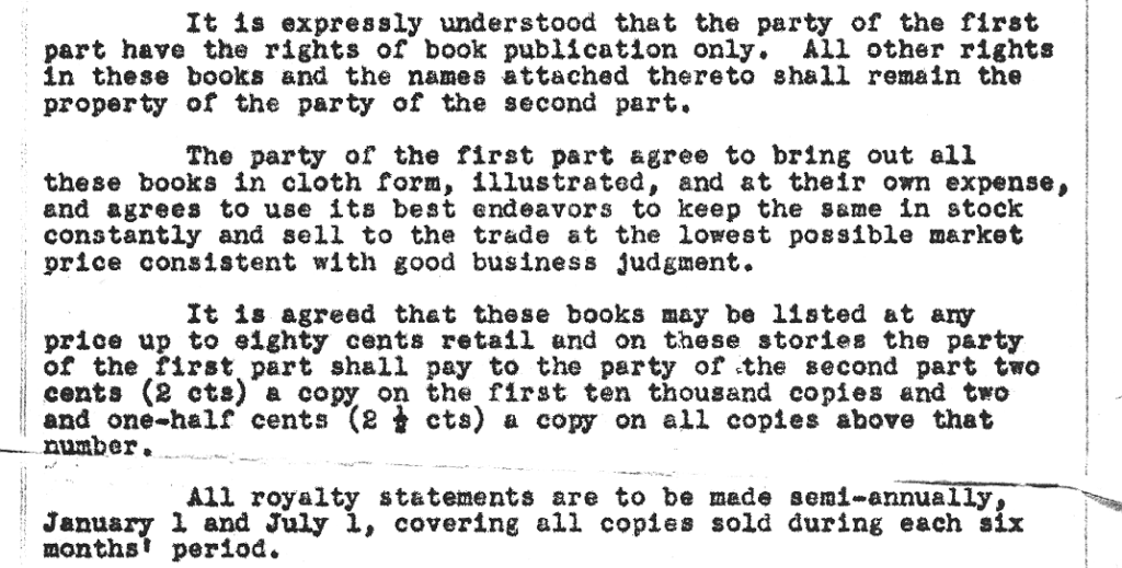 Part of a 1929 contract that refers to the reduced rate (2¢ on 50¢ -- 4%) for the initial copies and later the regular rate (2.5¢ on 50¢ -- 5%).