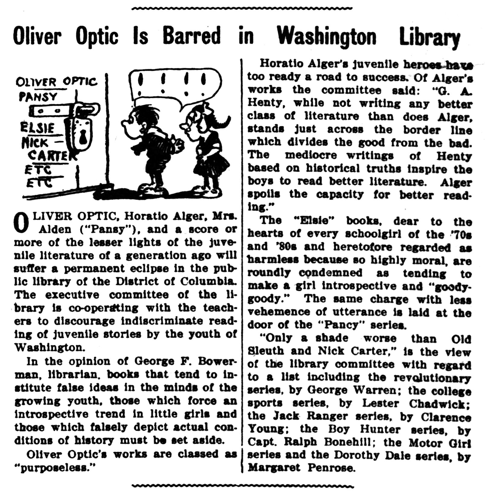 Oliver Optic is barred in Washington library (14 Dec 1912)